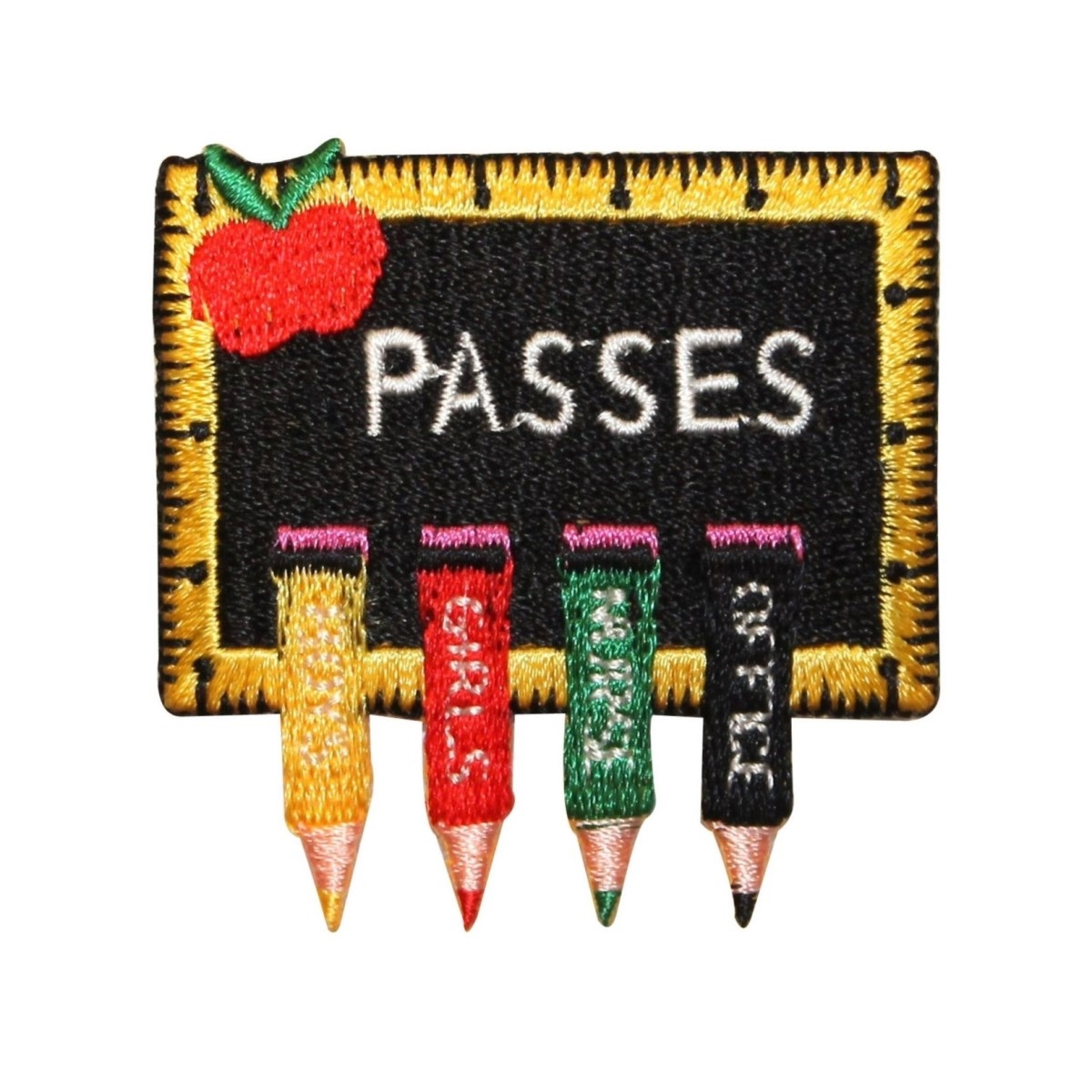 ID 0977 School Hall Passes Patch Chalk Board Clips Embroidered Iron On Applique