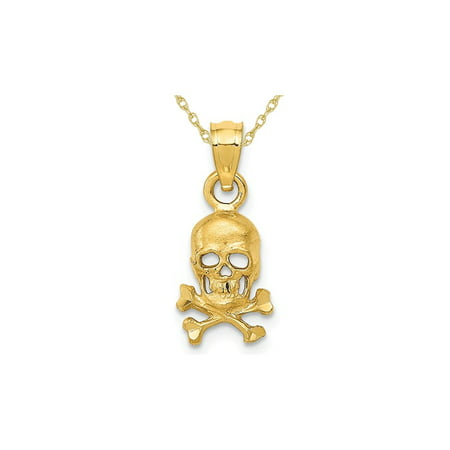 14K Yellow Gold Skull And Cross Bones Pendant Necklace with