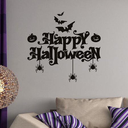 happy halloween bats spider wall sticker window home decoration
