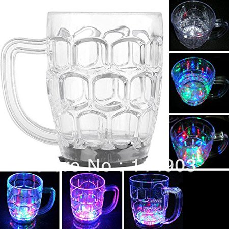 New!350ml LED Light-up Flashing Rocks Glass Drink Ware Drink Beer Mug Cup Container LED Light Beer Cup with 6 LED, dinnerware sets By MHNS