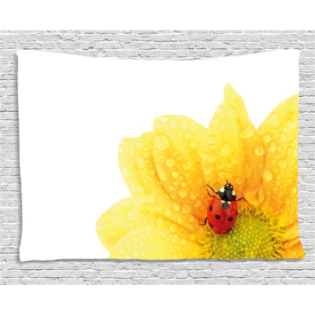 Yellow Flower Tapestry, Cute Little Ladybug on Gerbera Wet Petals Water Drops Fresh Garden, Wall Hanging for Bedroom Living Room Dorm Decor, 60W X 40L Inches, Yellow Vermilion, by Ambesonne](Yellow Lady Bug)