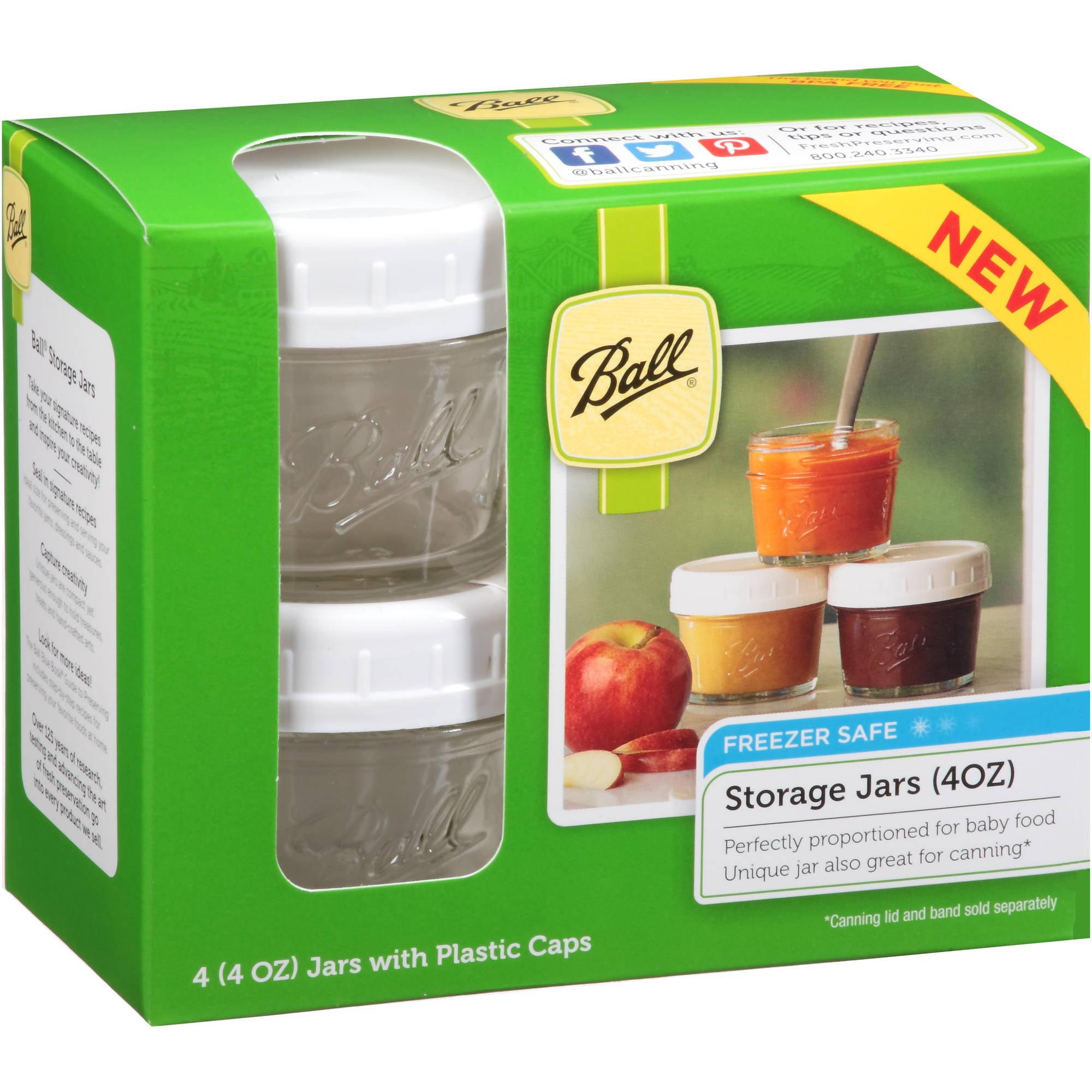 Superb Ball Regular Mouth 4 Oz. Jars With Storage Caps, Set Of 4   Walmart.com