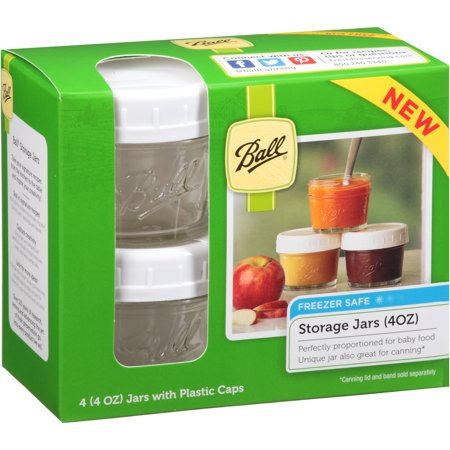 Ball Regular Mouth 4 Oz. Jars with Storage Caps, Set of 4 for $<!---->