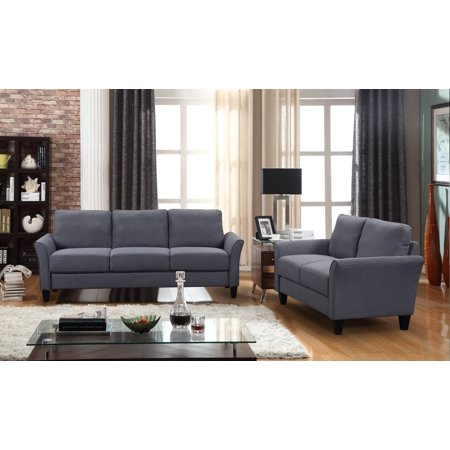 Clearance! Modern Sectional Sofas Set with 3 Seat Sofa, Loveseat and Armchair, Living Room Furniture Sofa with Removable Comfortable Foam Cushions and Wedge-Shaped Back, 500lbs, Dark Grey, A78