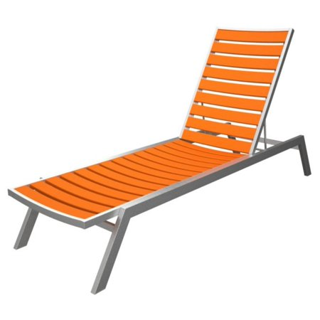 recycled earth friendly chaise lounge chair orange w silver frame. Black Bedroom Furniture Sets. Home Design Ideas