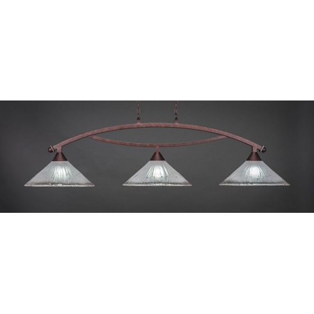"""Toltec 873-BRZ-711 Bow 3 Light Bar Shown In Bronze Finish With 16"""" Frosted Crystal Glass"""
