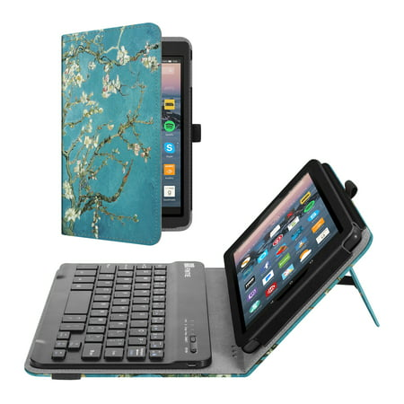 Keyboard Case for Fire 7 (9th Generation, 2019 Release), Fintie Slim Fit Folio Cover w/ Bluetooth Keyboard,