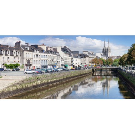 Cathedrale St-Corentin reflecting in the river Odet Quimper Finistere Brittany France Canvas Art - Panoramic Images (36 x 12)