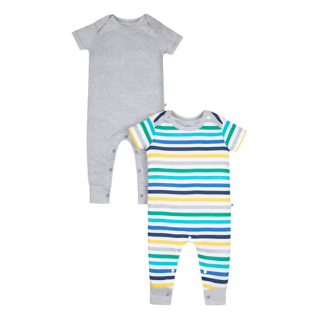 Short Sleeve Pure Organic True Brights Rompers, One Piece Coverall (Baby Boys) Boys 2 Piece Romper
