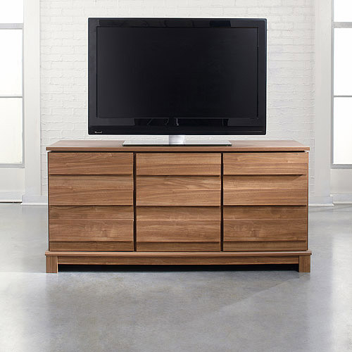 "Sauder Soft Modern TV Stand for TVs up to 60"", Fine Walnut"