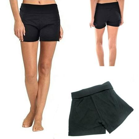 Women's Yoga Fold Over Short Black Fitness Gym Cotton Spandex Soft Comfy S M L !