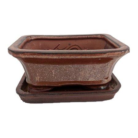 """Pro Bonsai Pot/Saucer Pre-Wired -Copper/Rect/Flare-6 3/8""""x4 3/4""""x2 5/8"""""""