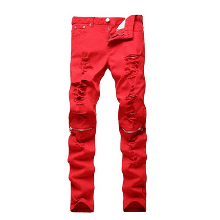 Men's Slim Fit Pencil Pants Vintage Zipper Denim Distressed Stretch Ripped Jeans (Slim Fit Jeans Ripped Men)
