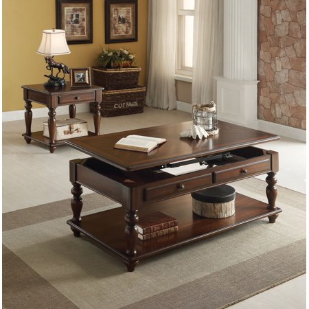 Simple Relax Farrel 2pcs Walnut Lift Top Coffee Table Set With Drawers