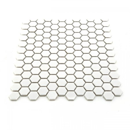 Porcelain Mosaic Hexagon Glossy White Floor and Wall Tile, 1 Tile 10.25