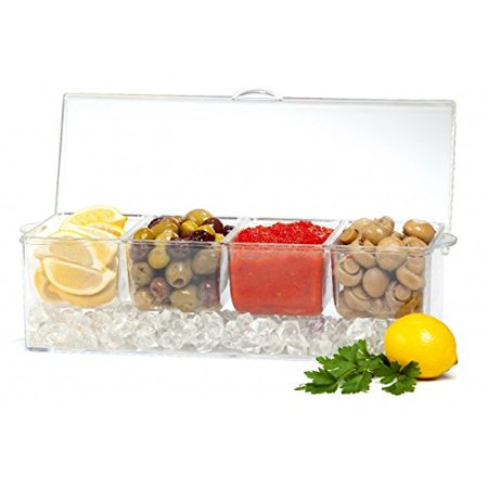 Patio Multifunctional Chilling 4 section condiment server on ice cube filled tray