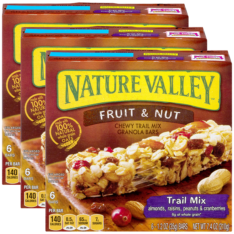 (3 Pack) Nature Valley Chewy Granola Bar Trail Mix Fruit & Nut 6 Bars - 1.2 oz