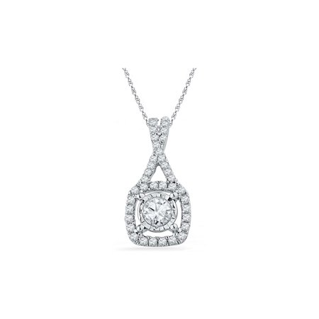 2/5 Carat (ctw I1_I2) Diamond Drop Pendant Necklace in 10K White Gold with Chain