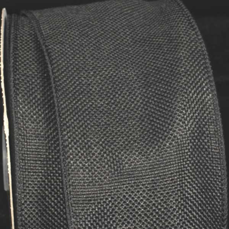 "Charcoal Black Wired Fine Burlap Craft Ribbon 3"" x 40 Yards"