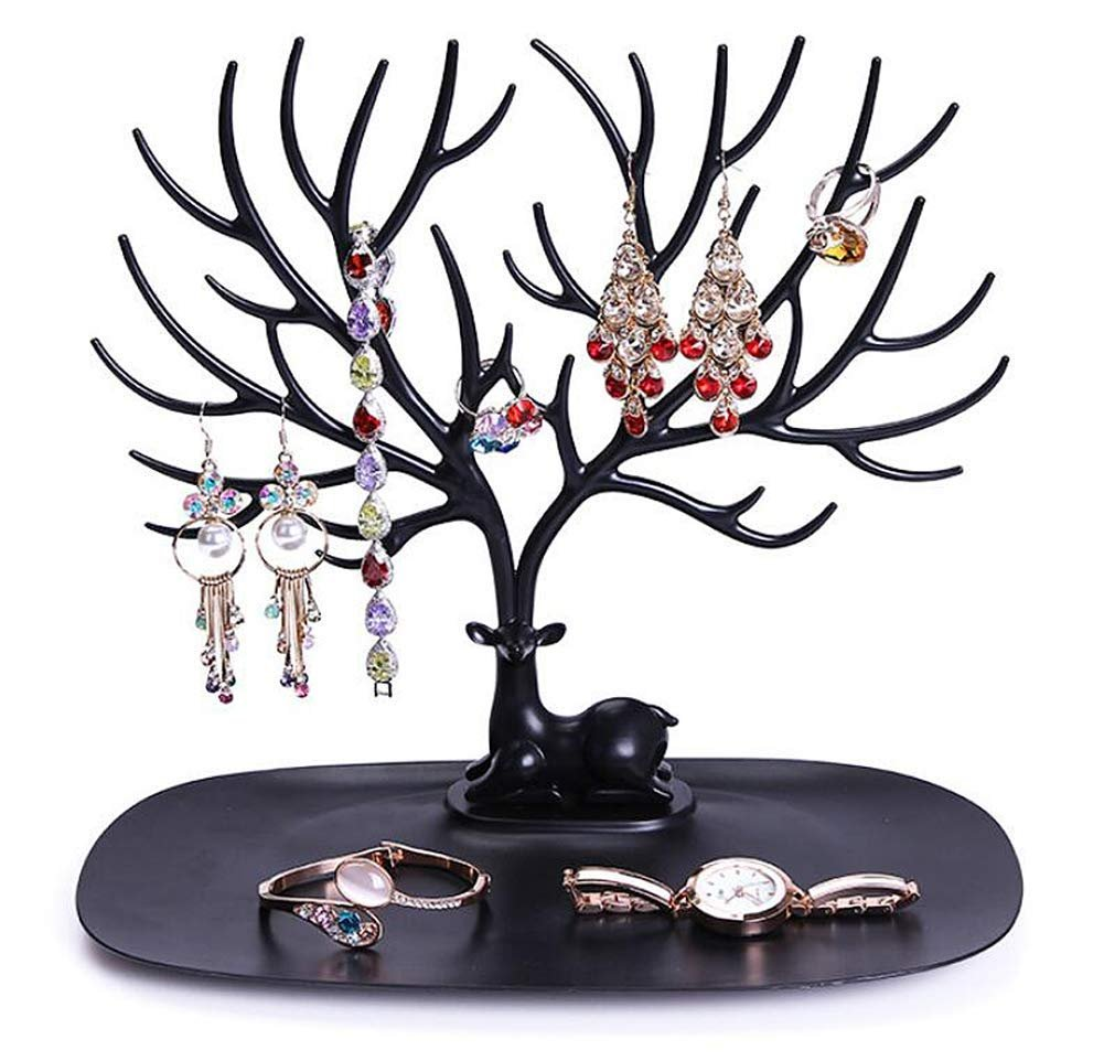 Magik Jewelry Deer Tree Stand Display Organizer DIY Handcrafts Parts Necklace Ring Earring Holder Rack (Black, 1 Pack)