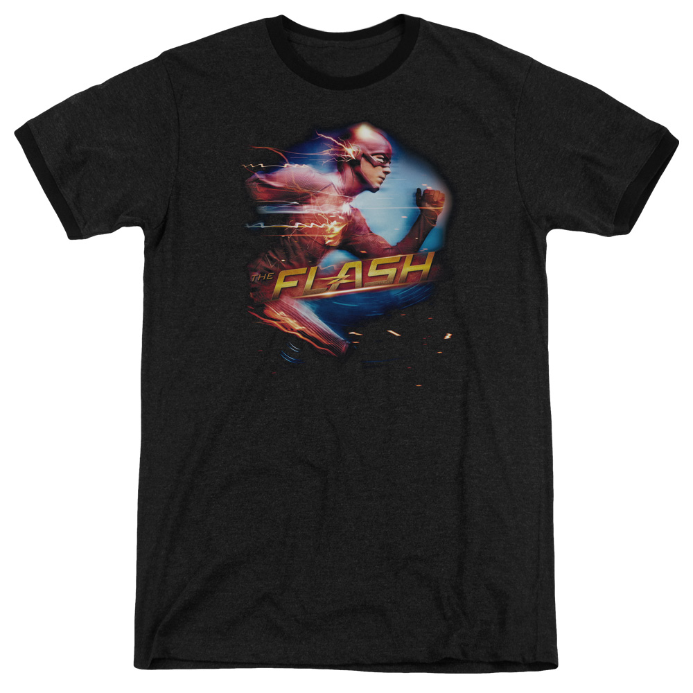 The Flash Fastest Man Mens Adult Heather Ringer Shirt