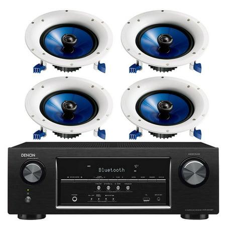 Denon 5.2 Channel 700-Watt Full 4K Ultra HD Bluetooth AV Home Theater Receiver + Yamaha Natural High-Performance Moisture Resistant 2-Way 110 watts Surround Sound in-ceiling Speaker System (Set Of 4)