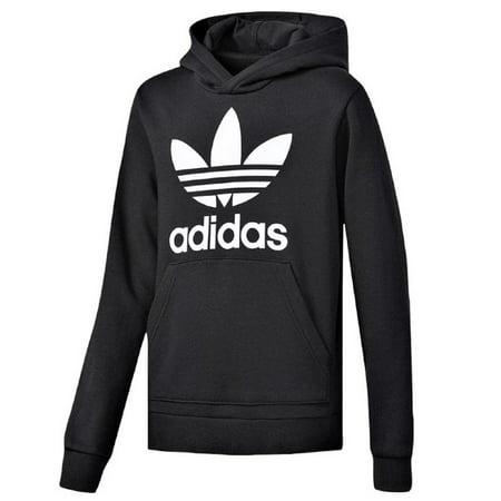 New Mens Adidas Original Mens Trefoil Fleece Hoodie Hooded Sweatshirt Pullover Jumper Black