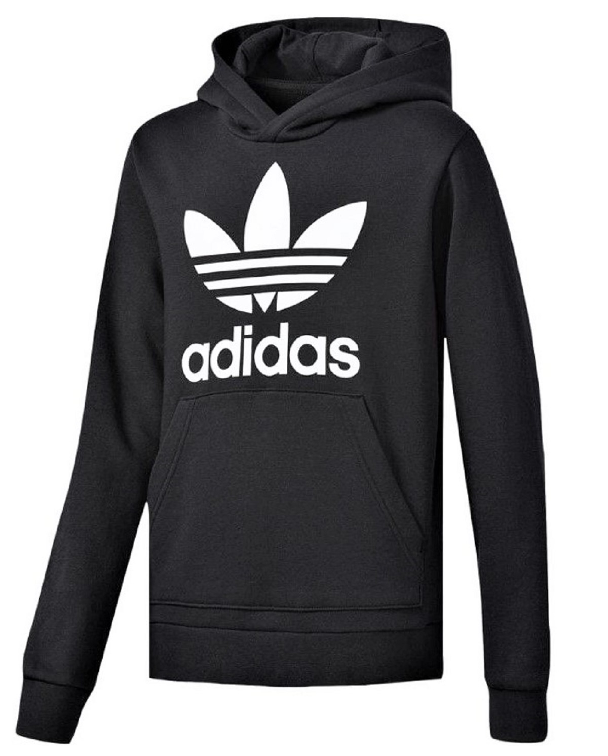New Mens Adidas Original Mens Trefoil Fleece Hoodie Hooded Sweatshirt Pullover Jumper Black