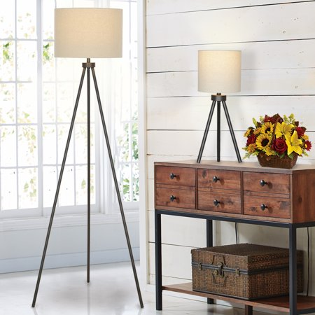 Better Homes & Gardens Modern Tripod Table & Floor Lamp Set, Black