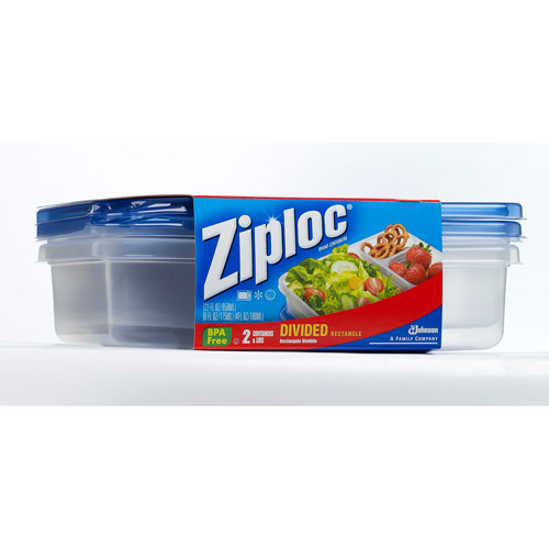 Ziploc Containers, Divided Rectangle, 2ct
