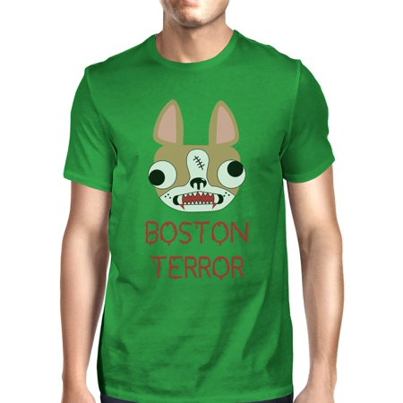 Boston Terror Terrier Halloween Shirt For Men Green Cotton Crewneck