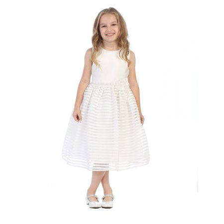 Little Girls Ivory Satin Striped Netting Bolero Flower Girl Dress - Blossom Dress