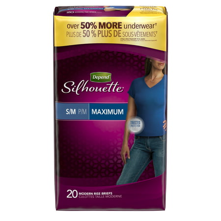 Depend Silhouette Incontinence Underwear for Women, Maximum Absorbency, S/M, Beige, 20 Count for $<!---->