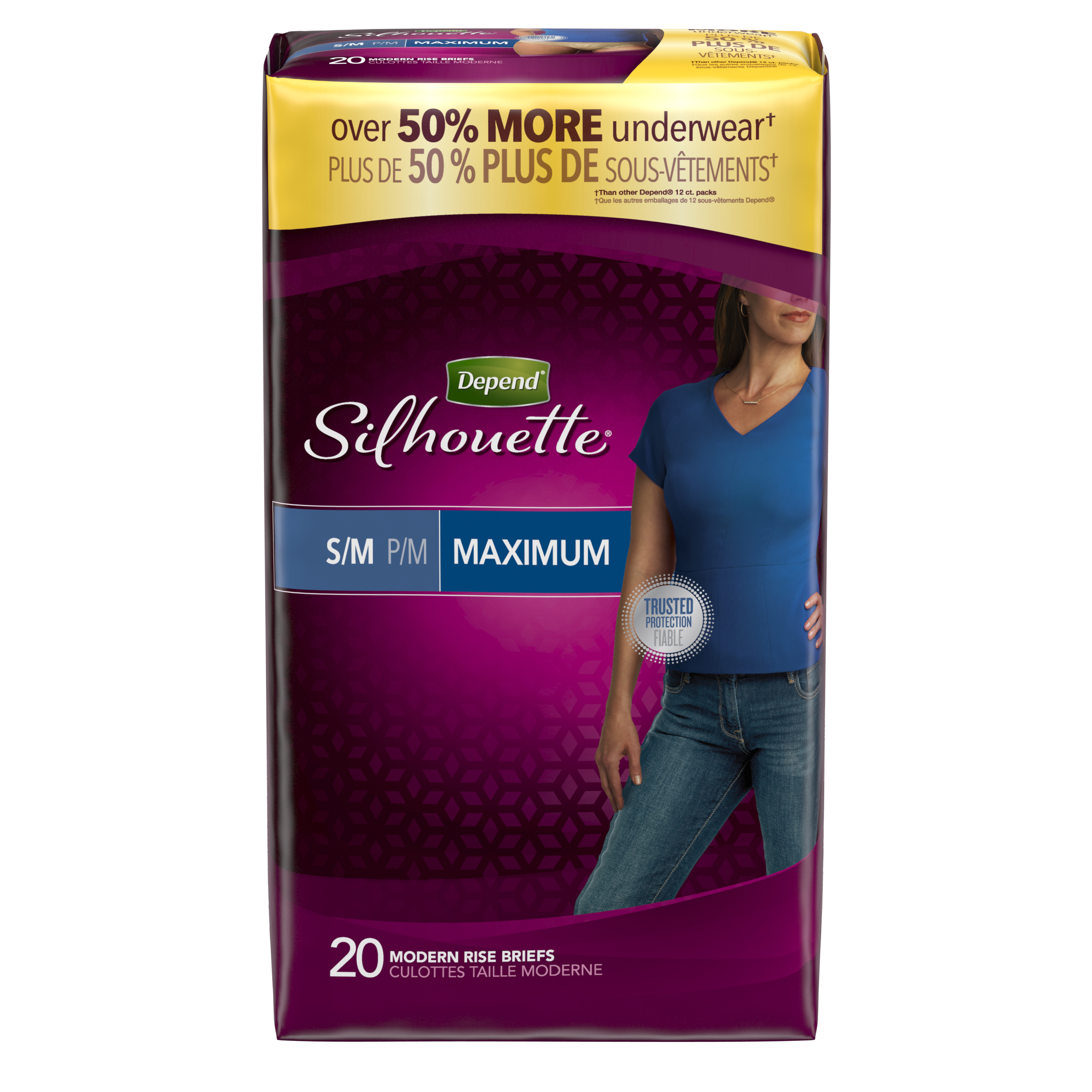 Depend Silhouette Incontinence Underwear for Women, Maximum Absorbency, S/M, Beige, 20 Count