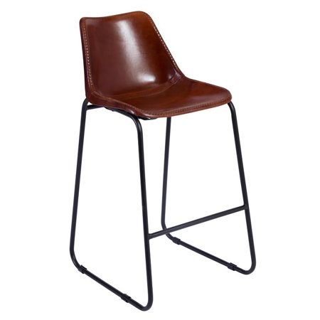 Mandela Leather Bucket Seat Counter Chair Brown