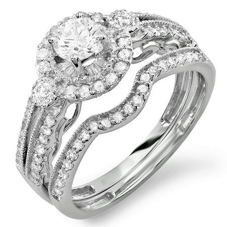 - Dazzlingrock Collection 0.98 Carat (ctw) 18k Round Cut White Diamond Bridal Halo Engagement Ring Set 1 CT, White Gold, Size 6.5