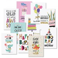 "Simple Wishes Birthday Greeting Cards Value Pack - Set of 20 (10 designs), Large 5"" x 7"", Birthday Cards with Sentiments Inside, White Envelopes"