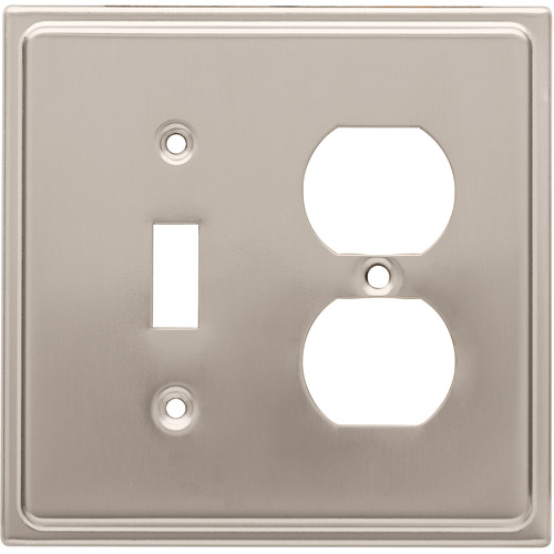Brainerd Country Fair Single Switch/Duplex Wall Plate, Satin Nickel