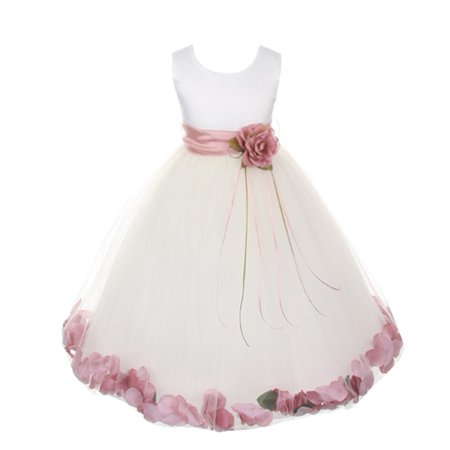 Little Girls White Satin Rose Petal Sash Flower Girl Dress 6](Little Girls White Dresses)
