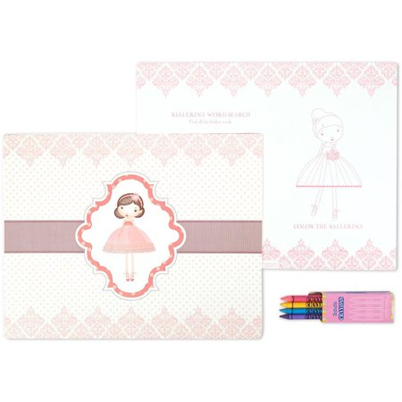 Birthday Express Kits Ballerina Tutu Activity Placemat Kit for 4 (Ballerina Birthday)