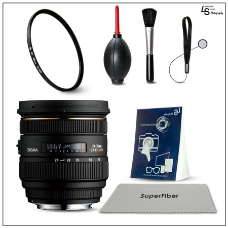 Sigma 24-70mm F2.8 IF EX DG HSM Zoom Lens for Canon AF Cameras, 82mm UV Filter, and DSLR Camera Lens Cleaning and Maintenance Kit by Loadstone Studio WMLS1369