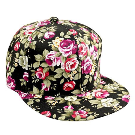 Floral Print Snapback Hat Adjustable Fitted Men's Women's Hip-Hop Cap Baseball Hat Headwear Main -