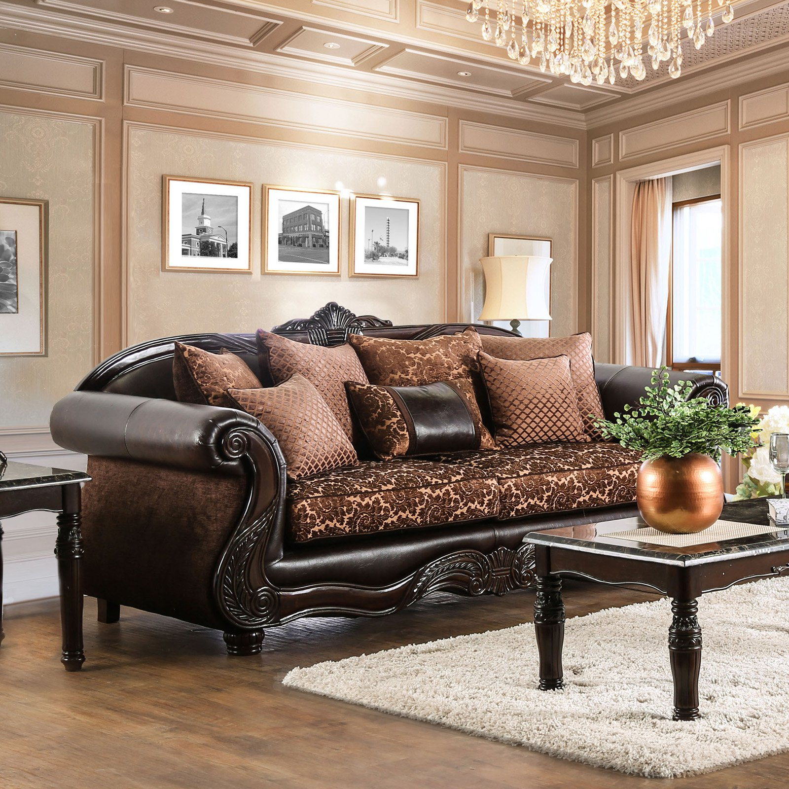 Furniture Of America Maldino Traditional Style Intricate Wood Carved Sofa