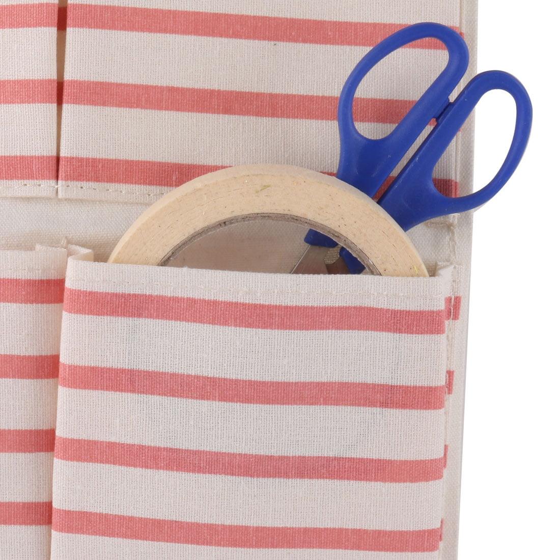 Dormitory Wall Stripe Print 6 Pockets Sundry Key Holder Hanging Bag Case Pink - image 2 of 4