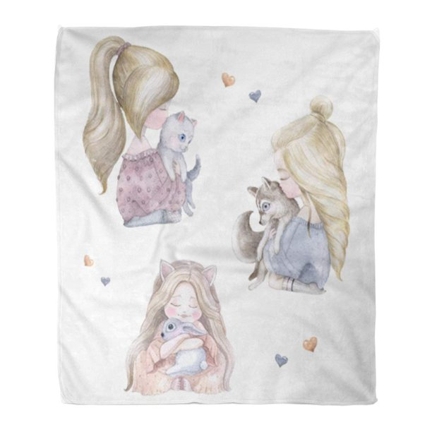 SIDONKU Throw Blanket Warm Cozy Print Flannel Girl Cat Dog Rabbit Watercolor Watercolour Aquarelle Room Cartoon Baby Comfortable Soft for Bed Sofa and Couch 58x80 Inches