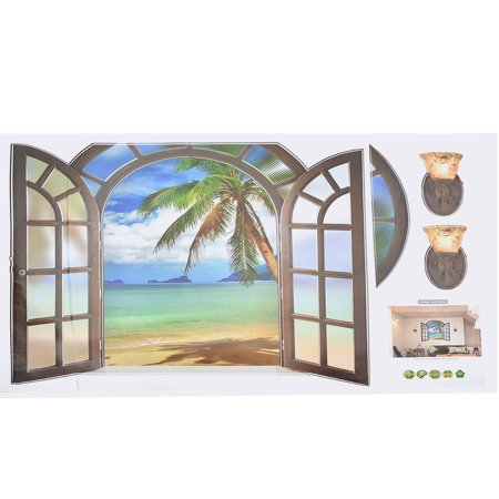 Home Office PVC Seascape Print Self-adhesive Window Film Protector Wall Decal Sticker - image 2 of 3