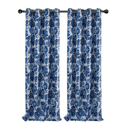 Jacobean Vine - Regal Home Collections 2 Pack Floral Jacobean 100% Thermal Insulated Blackout Window Curtains - Blue