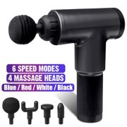 Handheld Electric Body Massager Gun, Deep Tissue Percussion Muscle Massager, with 6 Speeds & 4 Heads