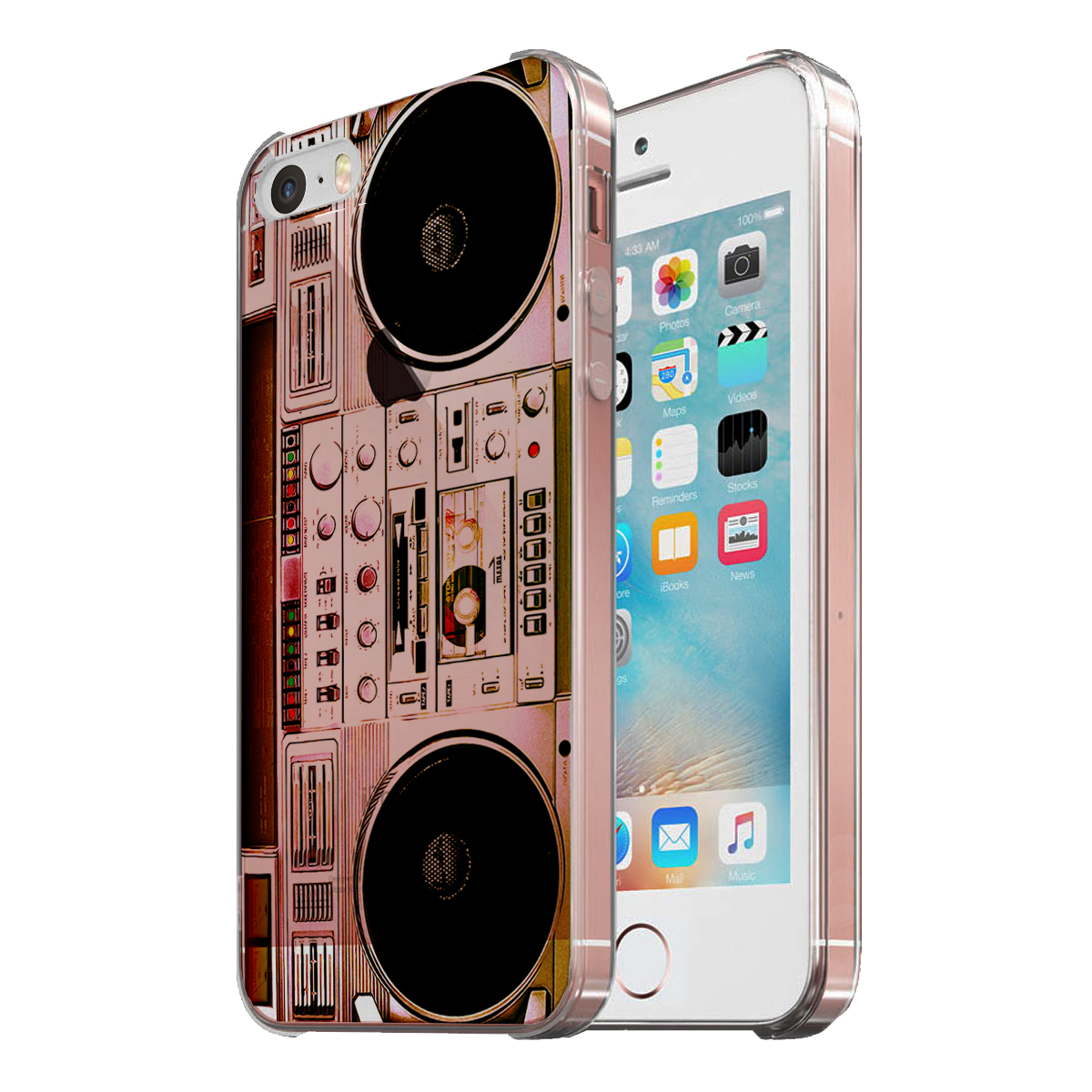 KuzmarK Clear Cover Case fits iPhone SE & iPhone 5 - Boombox Ghettoblaster Radio