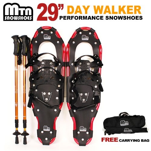 "New MTN-G MTN Man Woman Kid Youth 29"" Red YP Snowshoes with GOLD Nordic Walking Pole Free Bag by MTN Snowshoes"